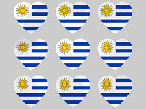Heart icons with the flag of Uruguay. I love Uruguay. Vector. Illustration Royalty Free Stock Images