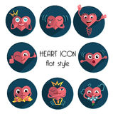 Heart icons in flat style. Group heart icons in flat style Royalty Free Stock Image