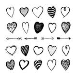 Heart Icons Hand Drawn Set for Valentines Day Stock Photos