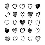Heart Icons Hand Drawn Set for Valentines Day Royalty Free Stock Image
