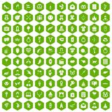 100 heart icons hexagon green. 100 heart icons set in green hexagon isolated vector illustration Stock Photo