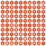 100 heart icons hexagon orange. 100 heart icons set in orange hexagon isolated vector illustration Royalty Free Stock Photo