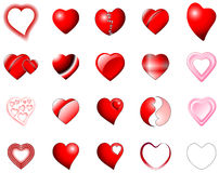 Heart icons illustration. Set of heart shaped icons vector illustration Royalty Free Stock Image