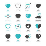 Heart icons with reflection. Isolated on white background Royalty Free Stock Photo