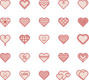 Heart icons. A series of filled line style heart icons Royalty Free Stock Photo