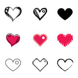Heart icons set. Red heart icons vector set stock illustration