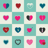Heart Icons Set, abstract color idea Royalty Free Stock Photos