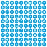 100 heart icons set blue. 100 heart icons set in blue hexagon isolated vector illustration Stock Illustration
