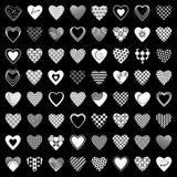 Heart icons set. 64 design elements. Stock Photos