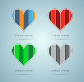 Heart icons. Set of four unique hearts. Could be used as icons. Vector contains transparent objects Stock Photo
