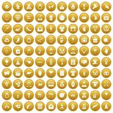 100 heart icons set gold. 100 heart icons set in gold circle isolated on white vectr illustration Vector Illustration