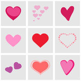 Heart icons set great for any use. Vector EPS10. Heart icons set great for any us e. Vector EPS10 Vector Illustration