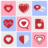 Heart icons set great for any use. Vector EPS10. Royalty Free Stock Images