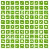 100 heart icons set grunge green Stock Image
