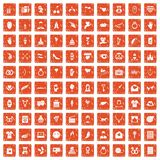 100 heart icons set grunge orange. 100 heart icons set in grunge style orange color isolated on white background vector illustration Stock Illustration