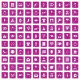 100 heart icons set grunge pink. 100 heart icons set in grunge style pink color isolated on white background vector illustration royalty free illustration