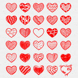 Heart Icons Set, hand drawn, doodl icons and Stock Photos