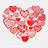 Heart Icons Set, hand drawn, doodl icons and Stock Images