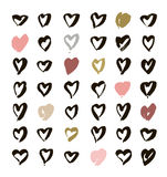 Heart Icons Set, hand drawn icons and illustrations for valentines and wedding Stock Photos