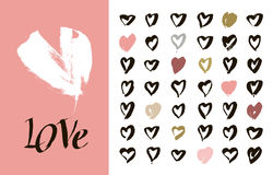 Heart Icons Set, hand drawn icons and illustrations for valentines and wedding Royalty Free Stock Photos