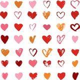 Heart Icons Set, hand drawn ions and illustrations Royalty Free Stock Image