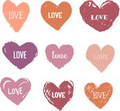 Heart Icons Set, hand drawn ions and illustrations Royalty Free Stock Photo