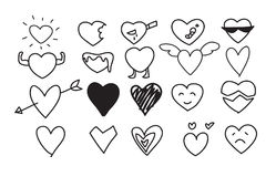 Heart Icons Set hand drawn vector line art cute  illustrations.  Stock Images