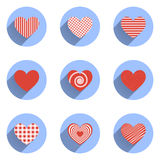 Heart Icons Set, ideal for valentines day and Royalty Free Stock Photos