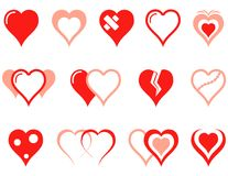 Heart icons set Royalty Free Stock Image