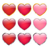 Heart icons set Royalty Free Stock Images