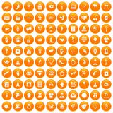 100 heart icons set orange. 100 heart icons set in orange circle isolated vector illustration vector illustration