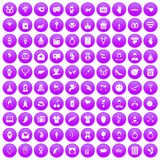 100 heart icons set purple. 100 heart icons set in purple circle isolated vector illustration Stock Illustration