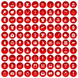 100 heart icons set red. 100 heart icons set in red circle isolated on white vectr illustration stock illustration