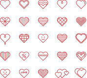 Heart icons. A set of red outline vector illustrations of heart icons with various designs and fillings Stock Images