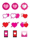 Heart icons set. This is heart icons set.It's for advertising and illustration Stock Photo