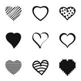 Heart icons set, simple style. Heart icons set. Simple set of 9 heart vector icons for web isolated on white background Stock Illustration