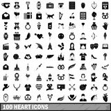 100 heart icons set, simple style. 100 heart icons set in simple style for any design vector illustration Stock Images