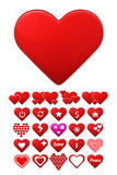 Heart icons set. Stylize trendy design. Stock Images