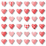 Heart icons set for valentine card. Stock Photos