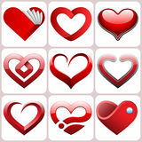 Heart Icons Set Stock Photos