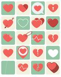 Heart Icons Set in Vector. Flat Heart Icons set for love themed concepts Royalty Free Stock Photos