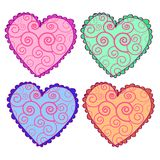Heart icons set, Vector hearts set. Set of vector hearts. Decorative style, floral ornament, scrawl Stock Image