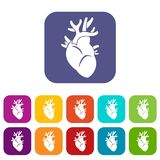 Heart icons set. Vector illustration in flat style in colors red, blue, green, and other Stock Photos
