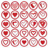 25 heart icons set. 25 heart icons vectors set Royalty Free Stock Photos