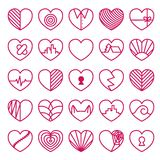 Heart icons set. On white background Stock Images