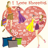 Heart with icons and shopping girls. Vector illustration Stock Images