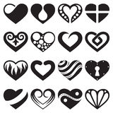 Heart icons and signs set Royalty Free Stock Photos