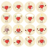 Heart icons, stickers set  Different emotions Stock Images