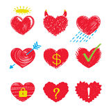 Heart icons. Vector hearts set. Different Heart emotions Stock Photos