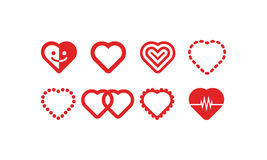 Heart Icons Vector Set. A set of 8 heart icons. Also available in .eps Royalty Free Stock Image